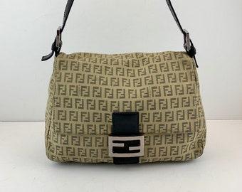 4e8058c8c8 FENDI Mama Baguette Beige Canvas Classic Zucca FF Monogram Shoulder Bag