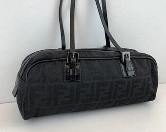 3c4887283b2f FENDI Zucca Print Long Barrel Bag Black Monogram Canvas
