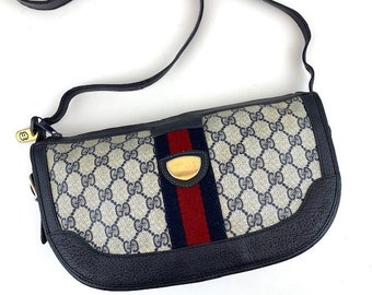 16cd7e7bccd GUCCI Crossbody Bag in Classic Blue GG Monogram Canvas with Red Stripe