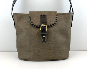 6eb368baccb3 FENDI Bucket Bag Classic Green Canvas with an Adjustable Shoulder Strap