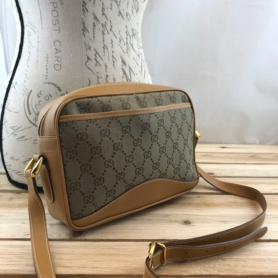 ea5a68456bec GUCCI Crossbody Bag GG Monogram Canvas Tan Leather