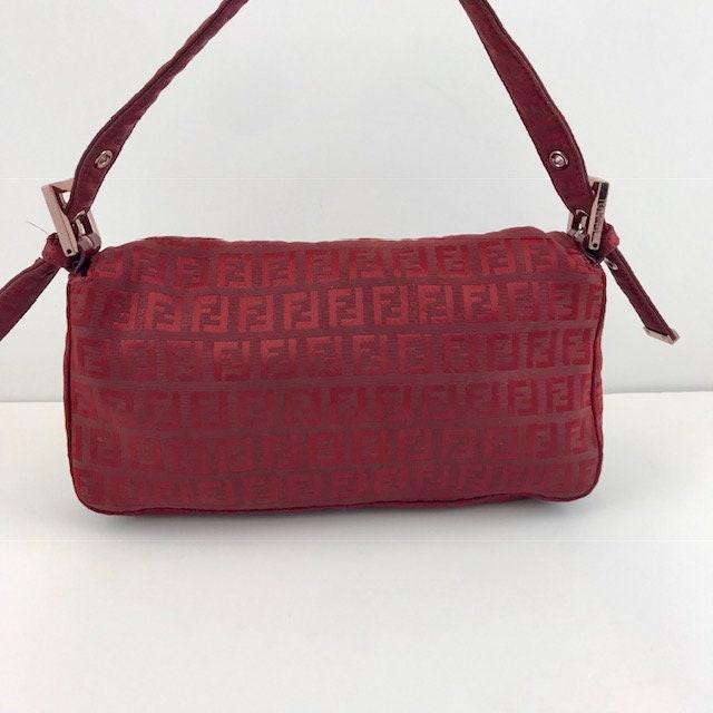 fd132d6ceeb9 FENDI Zucca Baguette Red Monogram Canvas Shoulder Bag