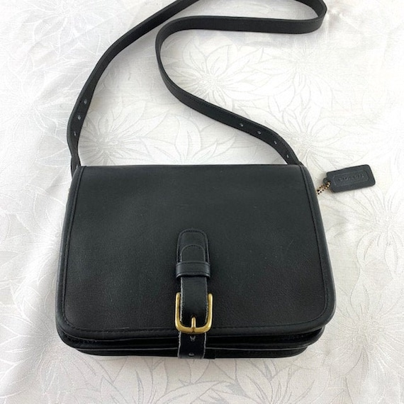 COACH Saddle Black Leather Shoulder Bag