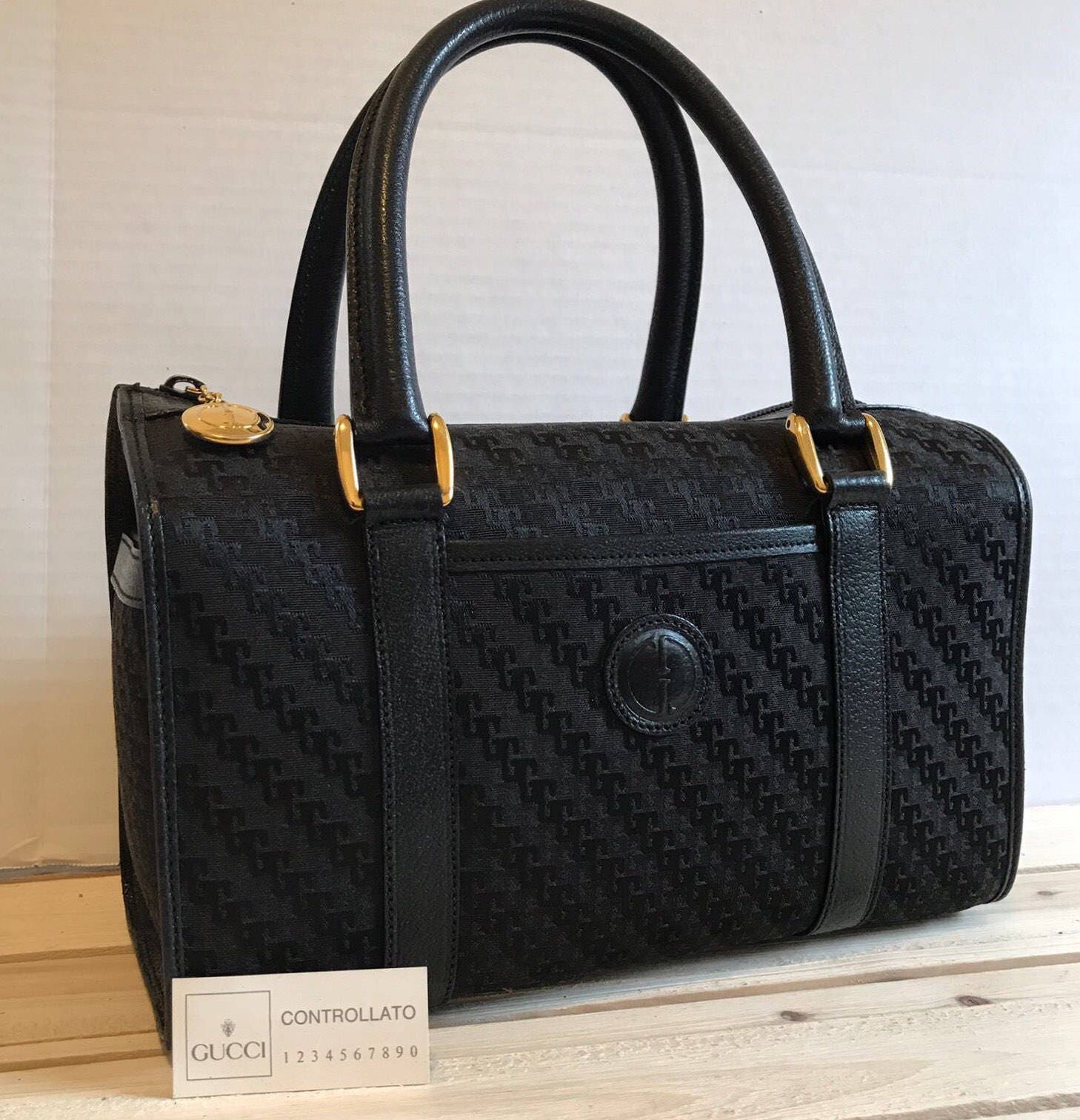 5fb380011589 SALE!! RARE GUCCI Vintage Black Speedy // Boston Bag // Handbag