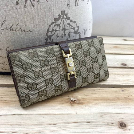 d8920e5903f GUCCI Long Wallet Tan GG Mongram Canvas with Leather Trim