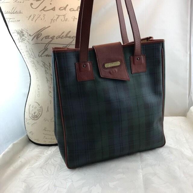 5b848d031b POLO Ralph Lauren Extra Large Tote Bag Classic Tartan Plaid Green Brown  Leather