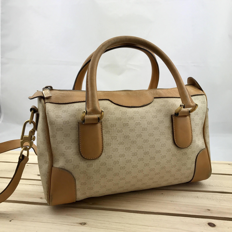 ee772a4ea00 GUCCI Vintage Monogram Canvas Tan Leather Speedy Bag with Shoulder Strap