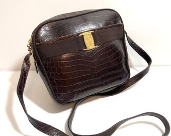 SALVATORE FERRAGAMO Vara Bow Brown Leather Signature Crossbody Bag