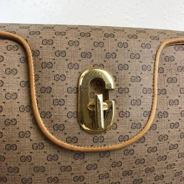 37415a062 RARE 1960's GUCCI Handbag GG Monogram Canvas Tan Leather Trim