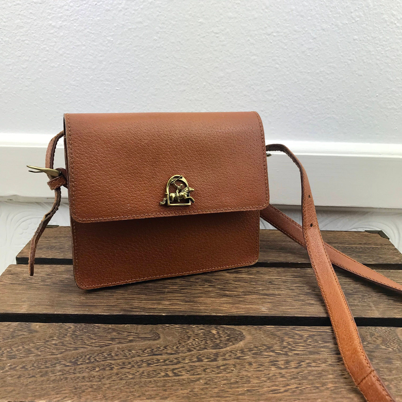Ralph Lauren Vintage Rare Tan Leather Crossbody Bag Logo 45f03efb9e843