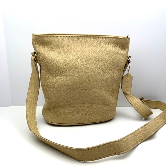 COACH Beige Leather Crossbody Bucket Bag