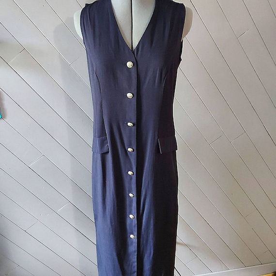 Vintage Pariscope Nautical Blue Cottagecore Dress