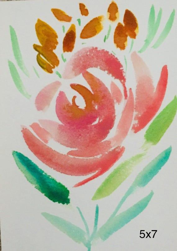 Rose Aquarelle Etsy