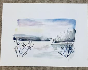 Snowy River || original watercolor ||home decor