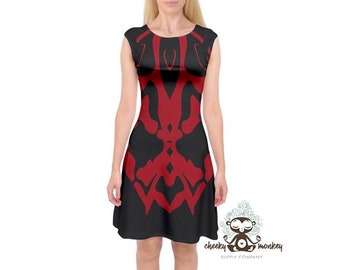 Star Wars Darth Maul Inspired Midi Cap Sleeve Dress // Disney Cruise Line,  Disneyland, Disney World // Travel Dress, Costume, Cosplay