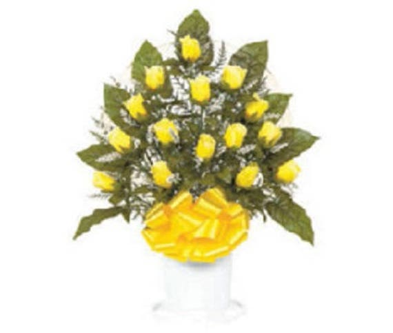 Cemetery Silk Flower YELLOW ROSEBUDS in Hoop Handle for Grave-site Presentation in Remembrance of Loved Ones -