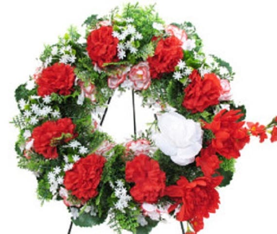 SILK WREATH in Deluxe Large RED Easel Mount for grave-site presentation in remembrance of loved ones -