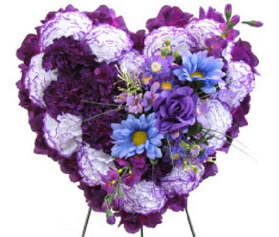 SILK FLOWER HEART in Deluxe Purple Easel Mount for grave-site presentation in remembrance of loved ones -