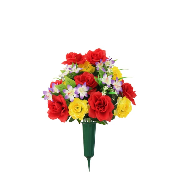 Cemetery Silk Red & Yellow Roses Supreme Arrangement with Vase