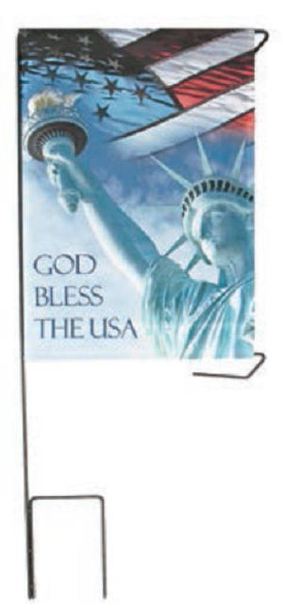 """Cemetery DIY BANNER """"God Bless The USA"""" for Grave-site Presentation in Remembrance of Loved Ones or Home Garden Use -"""