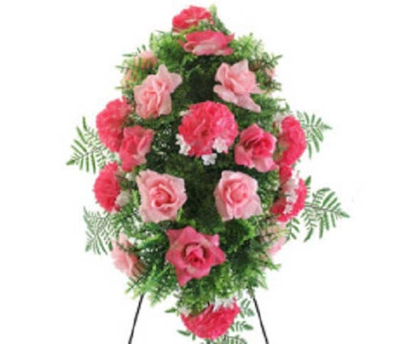 SILK FLOWER SPRAY in Deluxe Large Pink Easel Mount for Grave-site Presentation in Remembrance of Loved Ones -
