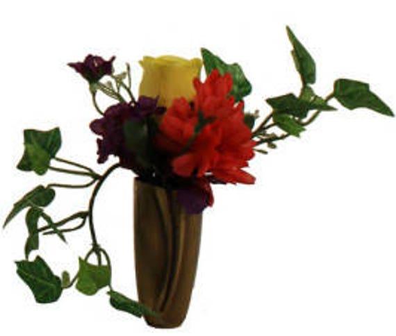 Silk Flower Niche Crypt Arrangement of Rose Delphinium Bell Ivy -