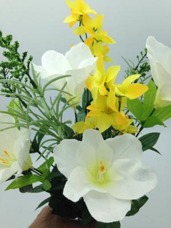 Silk Flower Cemetery Vase Lily with Yellow Water Lily Accent