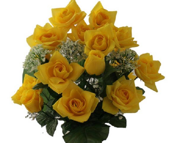 Cemetery VASE ROSES in DELUXE Open Yellow for Grave-site Presentation in Remembrance of Loved Ones -