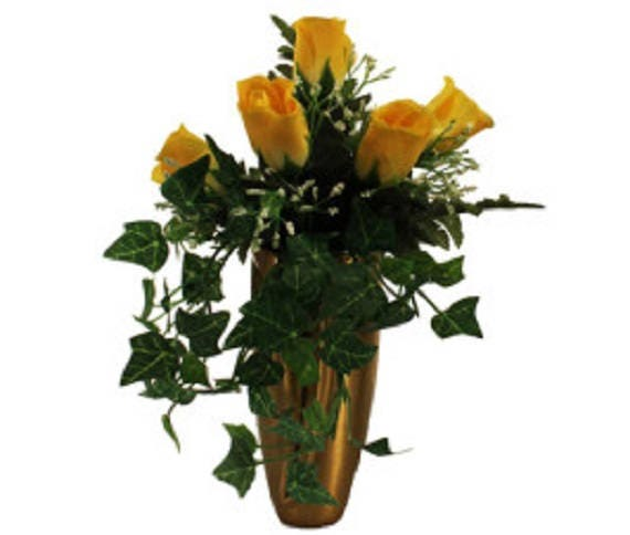 Silk Flower CRYPT / MAUSOLEUM Bouquet of Yellow ROSE w/ Baby's Breath Ivy for Presentation in Remembrance of Loved Ones -