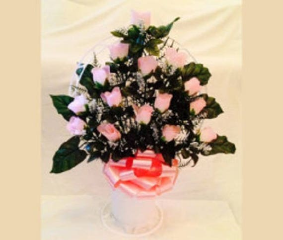 Cemetery Silk Flower PINK ROSEBUDS and Hoop Handle Basket for Grave-site Presentation in Remembrance of Loved Ones -