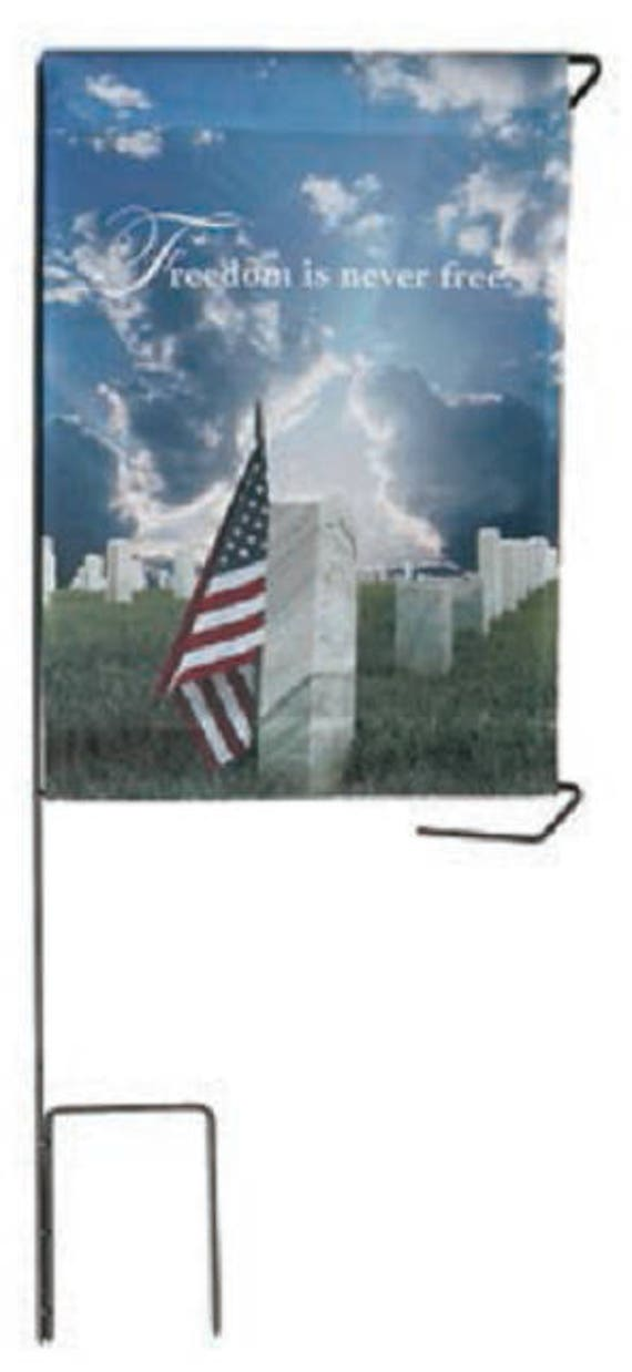 """Cemetery DIY BANNER """"Freedom Is Never Free"""" for Grave-site Presentation in Remembrance of Loved Ones or Home Garden Use -"""