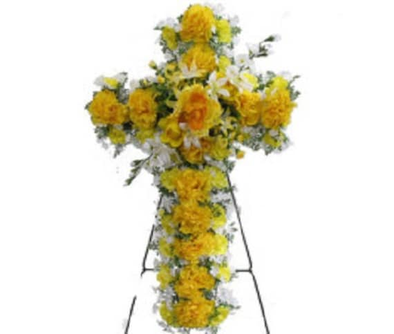 SILK FLOWER CROSS in Deluxe Yellow Easel Mount for Grave-site Presentation in Remembrance of Loved Ones -
