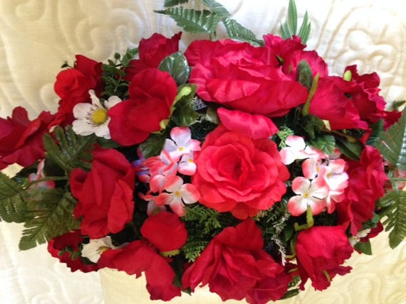 SILK FLOWER SADDLE for Headstone Mount in Deluxe Red and White for Grave-site Presentation in Remembrance of Loved Ones -