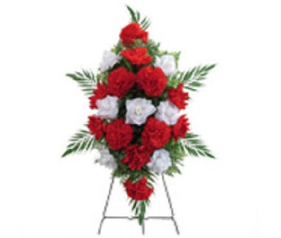 SILK FLOWER SPRAY in Deluxe Large Red & White Easel Mount for Grave-site Presentation in Remembrance of Loved Ones -