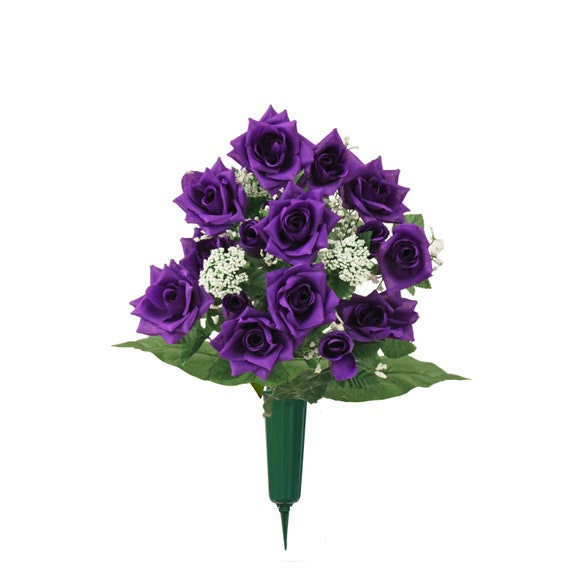 Cemetery Vase of Silk ROSES Deluxe for Grave-site Presentation in Remembrance of Loved Ones -