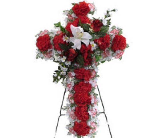 SILK FLOWER CROSS in Red Deluxe Easel Mount for Grave-site Presentation in Remembrance of Loved Ones -