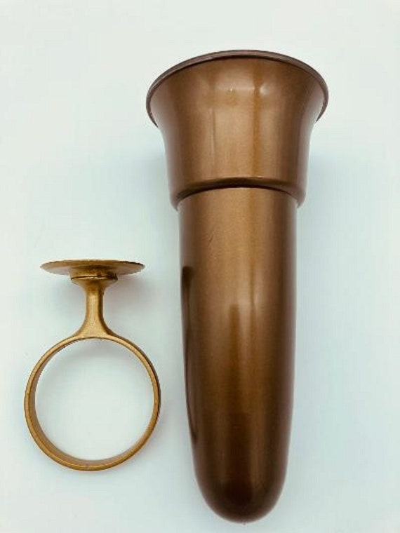 Mausoleum Crypt Vase 8 inch Old GOLD Ring Disc Base (epoxy) Support (7.75 IN)
