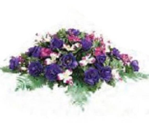 Flower SADDLE in Deluxe Silk PURPLE MAGENTA White for Grave-site Presentation in Remembrance of Loved Ones.