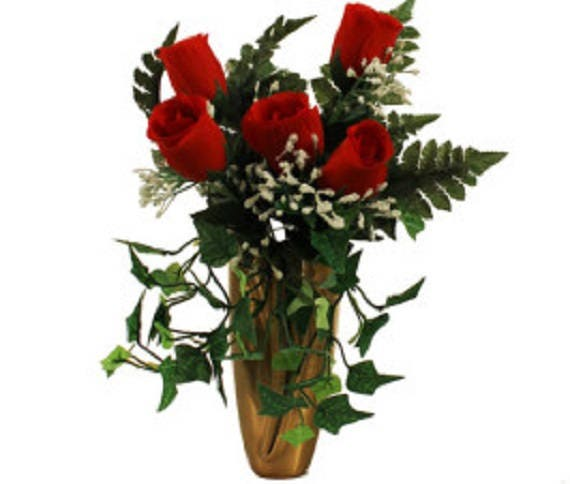 CRYPT / MAUSOLEUM Bouquet of Red ROSE w/ Baby's Breath Ivy for Presentation in Remembrance of Loved Ones