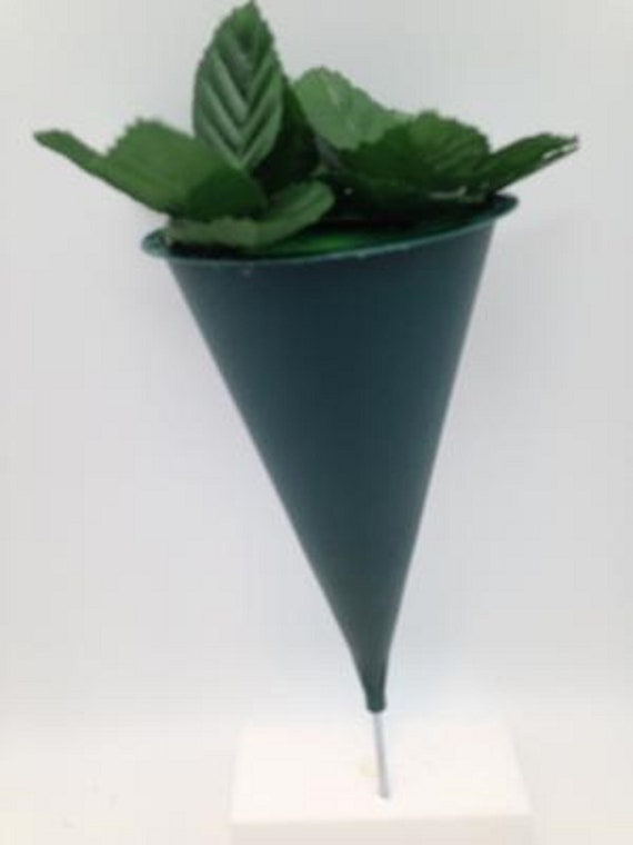 DIY CEMETERY Cone VASE for Flowers, Hard Plastic, Metal Spike for Grave-site Presentation as Loved One Memorial or Home Garden -
