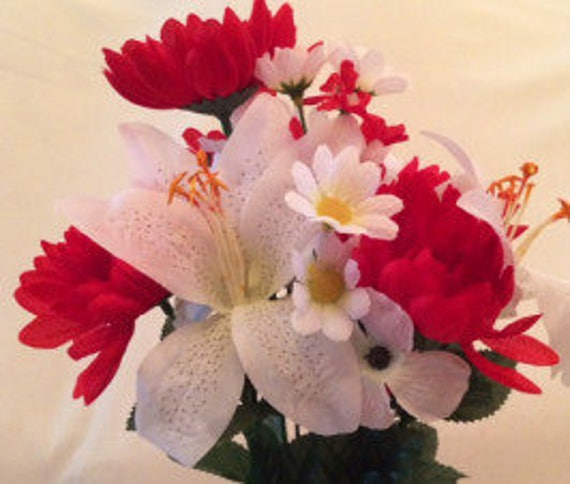 DIY Silk Bouquet of RED Mum WHITE Lilly Bouquet (refill) for Grave-site Presentation in Remembrance of Loved Ones Or Home Garden Use -