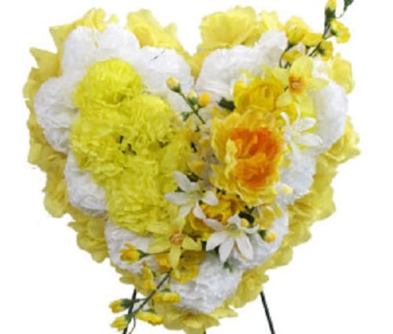 SILK FLOWER HEART in Deluxe Yellow Easel Mount for grave-site presentation in remembrance of loved ones -