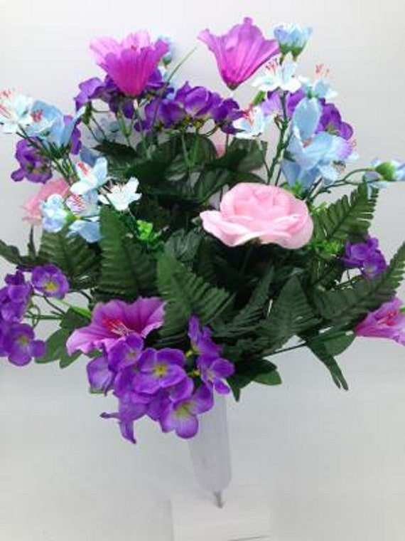 Silk Flower Cemetery Vase Rose Hydrangea Supreme