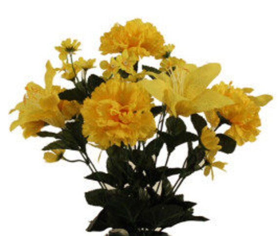 DIY Cemetery Silk Flower Bouquet YELLOW Carnations Lillies (refill) for Grave-site Present in Remembrance of Loved Ones Or Home Garden -