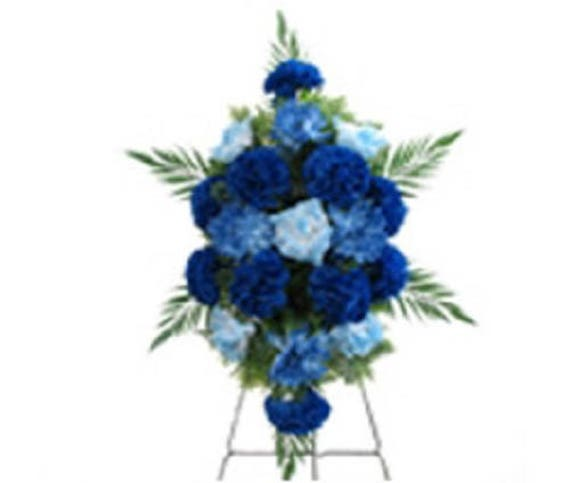 SILK Flower SPRAY in Deluxe Large BLUE for Grave-site Presentation in Remembrance of Loved Ones. Easel Mounted