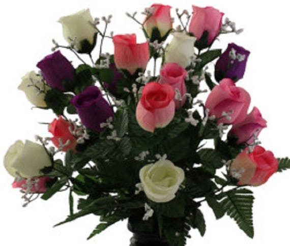 Cemetery VASE of ROSES Galore DELUXE Pink / Purple / White  for Grave-site Presentation in Remembrance of Loved Ones -