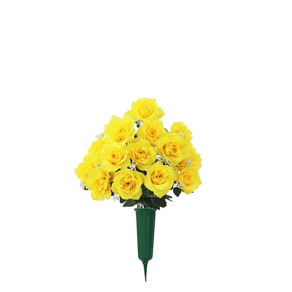 Cemetery VASE of Silk ROSES in Deluxe Yellow for Grave-site Presentation in Remembrance of Loved Ones -