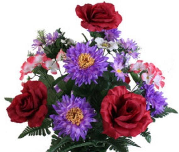 Cemetery Vase of RED ROSE HYDRANGEA Daisy Deluxe for Grave-site Presentation in Remembrance of Loved Ones -