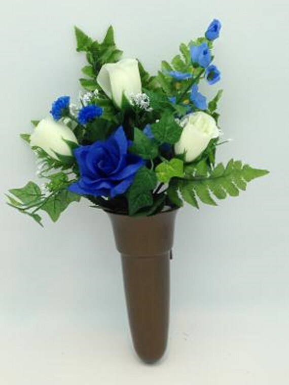 Crypt Mausoleum Vase & Cream Roses Blue Delphinium Silk Flowers w/ Button Bolt Support