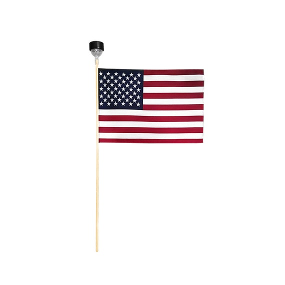 Cemetery USA Flag LED SOLAR Light